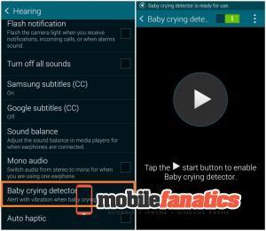 Samsung Galaxy S5 csecsemősírás érzékelő