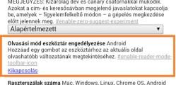 chrome for android olvasási mód engedélyezése