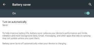 Android 5.0 akkumulátorkímelő mód