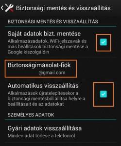 android biztonsági mentés