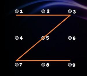Képernyőzár minták Z forma