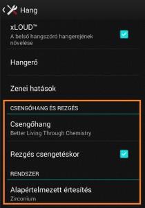 Sony xperia e3 csengőhang beállítás