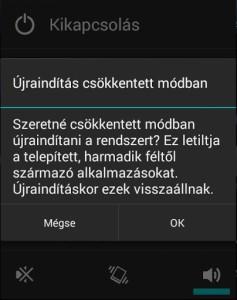 biztonsági üzemmód android