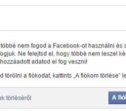 Facebook törlése
