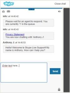 Skype ügyfélszolgálat chat