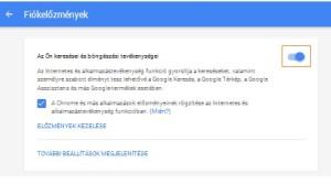 Google keresési előzmények kikapcsolása