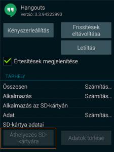 Alkalmazások áthelyezése SD kártyára