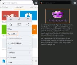 Inkognitó mód Firefox