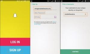 Snapchat regisztráció lépései