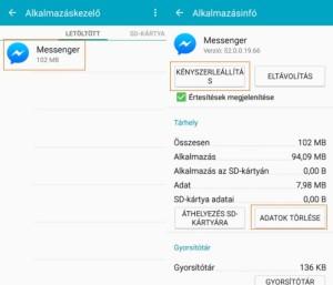 Facebook Messenger kijelentkezés android