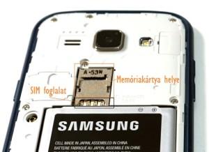 Samsung Galaxy J1 memóriakártya helye