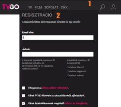 TV GO regisztráció lépései