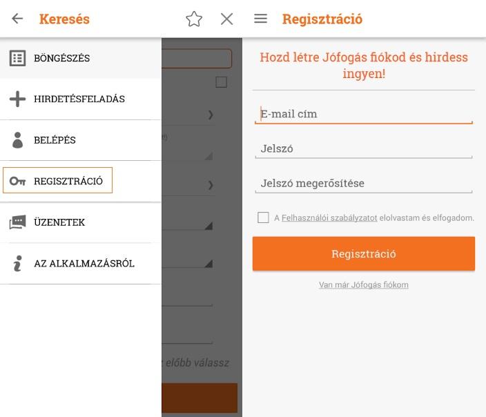 Jófogás regisztráció mobilon