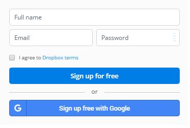 Dropbox tárhely regisztráció