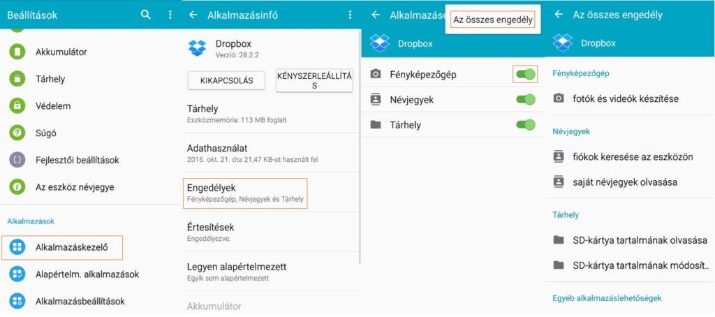 Android alkalmazás engedélyek beállítása