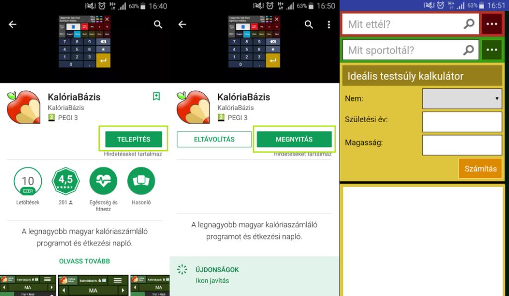 Kalóriabázis app