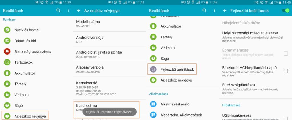 Android fejlezstői mód bekapcsolása