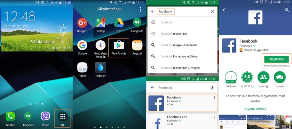 Facebook letöltés Samsung telefonra