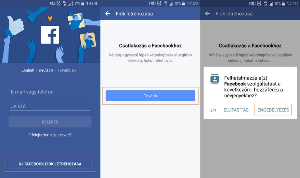 Facebook regisztráció lépései