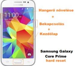 Samsung Galaxy Core Prime gyári beállítások visszaállítása